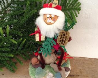 Beach Glass -  Hawaiian Santa - Handmade Christmas Ornament - Hawaii St Nick - handmade original