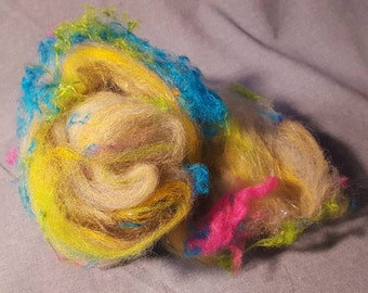 Fun mini art batt for spinning or felting 1oz