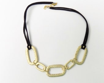 Black and Gold Choker - Black Velvet and Gold Tone Metal Links Choker Necklace