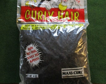 Midnight Black Curly Doll Hair Maxi Curl Vintage 4 oz. Large Package One and Only Creations dated 1990