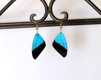 Butterfly Wing Earrings, Handcrafted Jewelry, Dangle earrings, Fish Hook, Blue Butterfly, Insect, 14k, Sterling Silver, Hypoallergenic