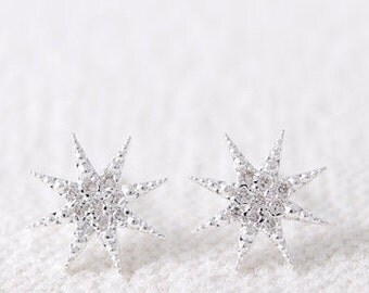 Starburst earrings, Silver starburst earrings, Tiny crystal studs. Bright earrings, Minimal earrings, Silver studs, Tiny star earrings