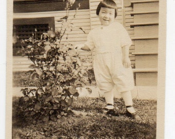 Antique Photo Cute Little Girl With Rose Flower Vintage Photograph Of A Child Old Snapshot Paper Ephemera