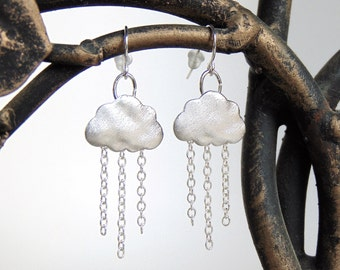 Rain Earrings - Raincloud Earrings / Rain Cloud Earrings in Rhodium Silver - Cloud Earrings