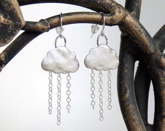 Rain Earrings - Raincloud Earrings / Rain Cloud Earrings in Rhodium Silver - Cloud Earrings