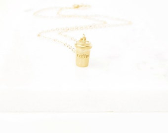 Gift For Mom - Necklace For Mom - Gold Coffee Necklace For Mom