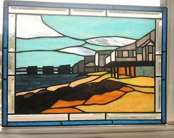 Stained Glass Art Panel|New England Seacoast|Stained Glass Seascape|Stained Glass Beach|Glass Art|Beach|Handcrafted|Made in USA