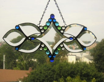 Stained Glass Art Suncatcher|Beveled Glass Suncatcher|Cool Colors|Art & Collectibles|Glass Art|OOAK|Handcrafted|Made in USA