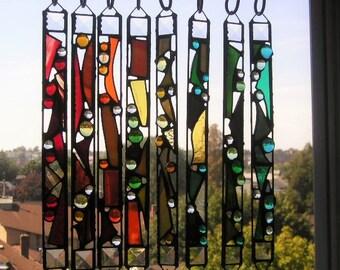 "Rainbow Art Suncatcher|Stained Glass Rainbow Suncatcher|""Rainbow Catcher""|Abstract with Crystals|OOAK|Glass Art|Handcrafted|Made in USA"