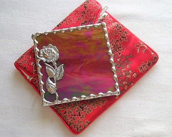 Stained Glass Purse Mirror|Pocket Mirror|Rose|Rose Mirror|Red|Brocade Pouch|Bath & Beauty|Makeup Tool|Handcrafted|Made in USA