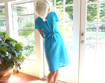 Vintage 1960's polyester knit mod dress turquoise sheath mid century sleek modern luncheon retro minimalist: medium