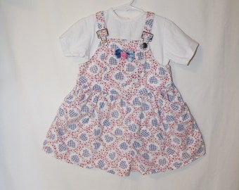 Vintage Toddler Girls Gingham hearts and poppies print short overalls shortalls with matching shirt Size 4T
