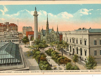 Vintage Postcard, Baltimore, Maryland, Charles Street Toward Monument Square