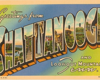 Linen Postcard, Greetings from Chattanooga, Lookout Mountain, Tennessee, Large Letter