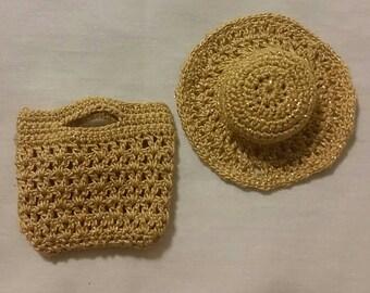 Handmade crochet hat and purse, for silkstone/fashion royalty barbie.