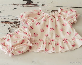 Baby Top & Knickers Set - 100% Cotton - 0-3 months, handmade, baby gift, ready to ship, UK Seller - CLEARANCE