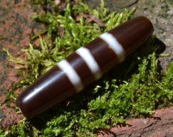 Three white bands over dark chocolate dzi bead  DZB1551