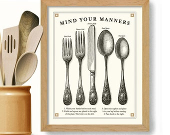 Kitchen Art Print Cooking Art Good Manners Vintage Black and White Dining Silverware Art Cooking Gift Fine Dining Fork Spoon Knife