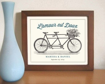Unique Engagement Gift - French Wedding Decor - Unique Wedding Gift Idea  - Bicycle for Two - French Theme