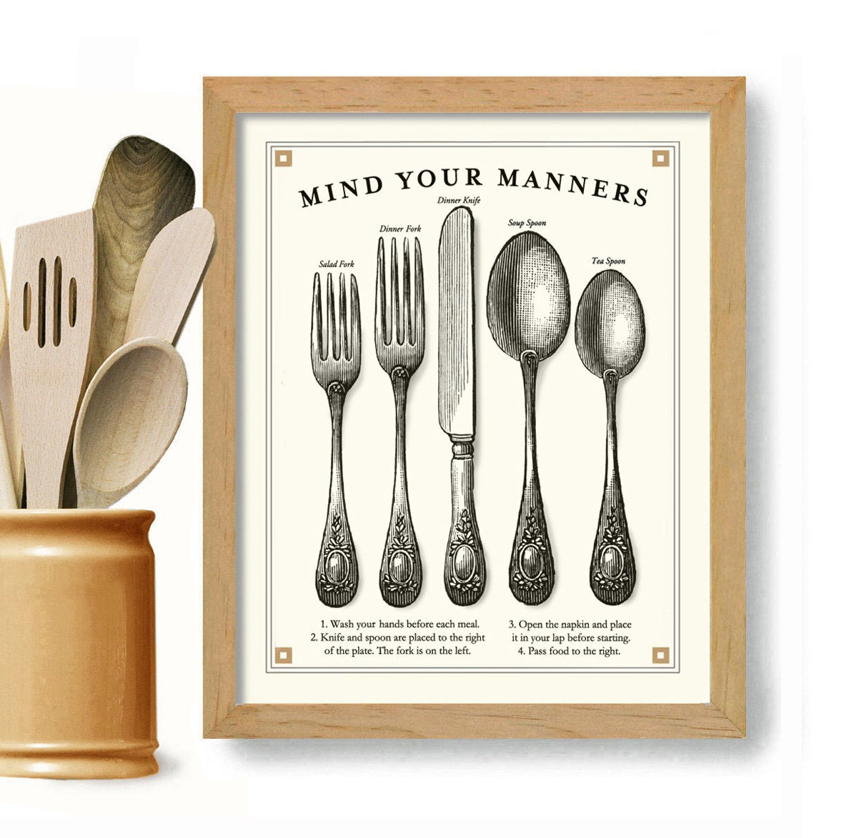Kitchen Art Print Cooking Art Good Manners Vintage Black And