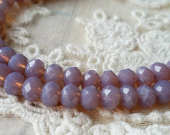 4 x 6 mm 48 Faceted Cut Rondelle Light Purple Color Glass / Crystal / Lampwork Beads (.ma)