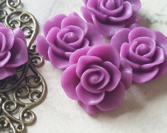 21 mm  of Purple Colour Rose Resin Flower Cabochons  (.ts)