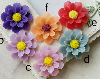18 mm Assorted Colour Resin Marigold Flower (.sg)(zzb)