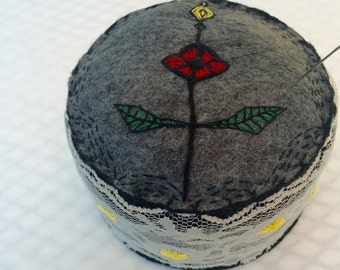 Red Flower Pincushion - Ready to Ship