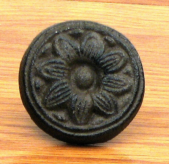 Sunflower Button Knob Cast Iron Furniture Pull Dresser Drawer