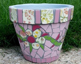 MOSAIC FLOWER POT Planter Garden mosaics pink