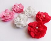 Felt applique, Felt Flower applique, Felt Embellishment, felt die cut, Craft Supplies, 6 pieces, Felt flowers