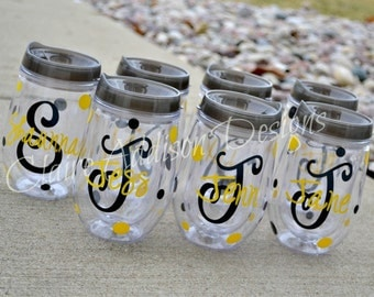 Bev2Go - Personalized Stemless Wine Tumblers // Bridesmaids, Bachelorette, Wedding Party, Girls' Trip, Girls' Weekend, Birthday Gift