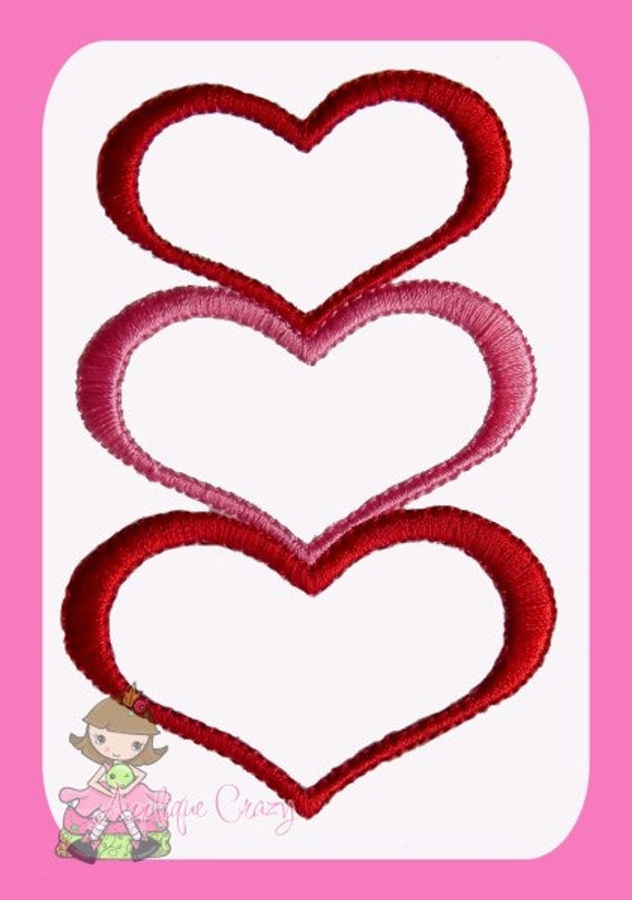 Stacked Hearts Embroidery file