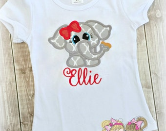 Girls Elephant Shirt - Circus themed shirt - Zoo themed shirt - Little Peanut - Custom embroidered shirt