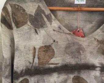 Hemp Silk blend Long Sleeve Pull over T-shirt Jumper Naturally dyed Eco Dyed Bush Dyes Medium