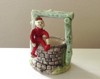 Christmas Elf on a Well Ceramic Planter Pixie Shelf Ornaments Holder Bowl Gray Grey Green Red  Whimsical Holiday Plants and Candy Dish