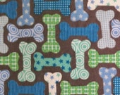 SALE 20% OFF Cotton Flannel Fabric, Dog Bones on Dark Brown flannel - By the Yard - green,, blue, turquoise white, patterns