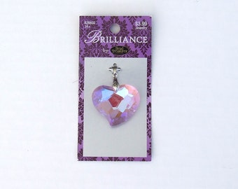 Pink Faceted Glass Heart Charm or Pendant with Silver Bail - Slight Iridescence: Sparkles In Different Shades!  Beautiful!