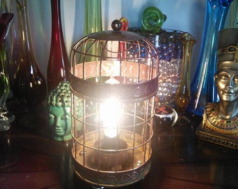 Vintage Look Bird Cage Lamp