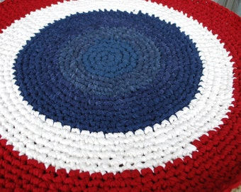 4th of July Red,white and blue handmade circle rug