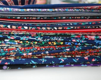 60 Pieces Floral Fabric Scrap bundle set Assorted floral fabric colors