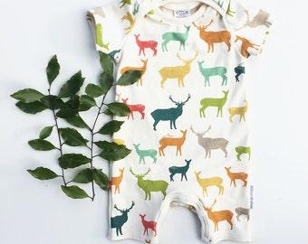 Organic baby romper elk romper deer romper