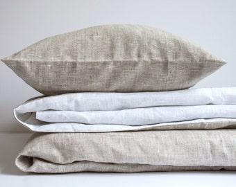 Linen Duvet Cover Welna White & Beige