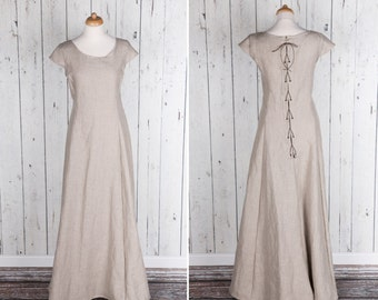 Long natural linen Medieval style dress, short sleeves, laced on back