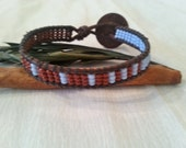 statement wrap bracelet, single wrap, leather, burgundy light blue mix