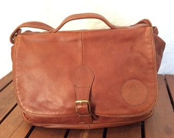 Great Vintage Genuine Brown Leather Briefcase Messenger Bag