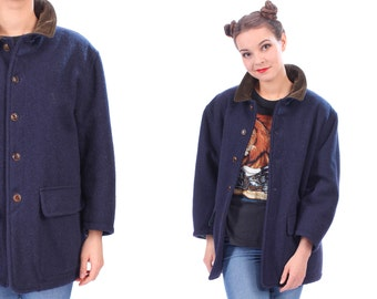 Valentino Jeans Peacoat 80s Vintage Chauffeur Coat Jacket Made In Italy Thick Wool Corduroy Collar Insulated Button Up Navy Blue . Medium