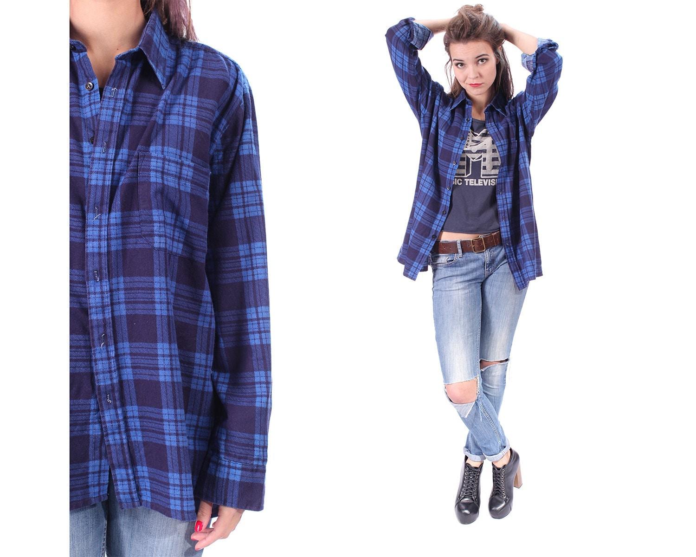 Blue Plaid Shirt 90s Grunge Flannel Button Down Distressed