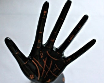 Palmistry hand ring and jewelry holder