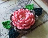 Crochet Flower Applique.  Salmon Crochet Flower With Leafs.